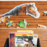 Text says: Start Your School Day with a Soft Start. Photos of a children's puzzle and a box of children's books.
