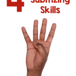 "Hand holding up 4 fingers against white background; text says "" 4 Games to Build Subitizing Skills"""