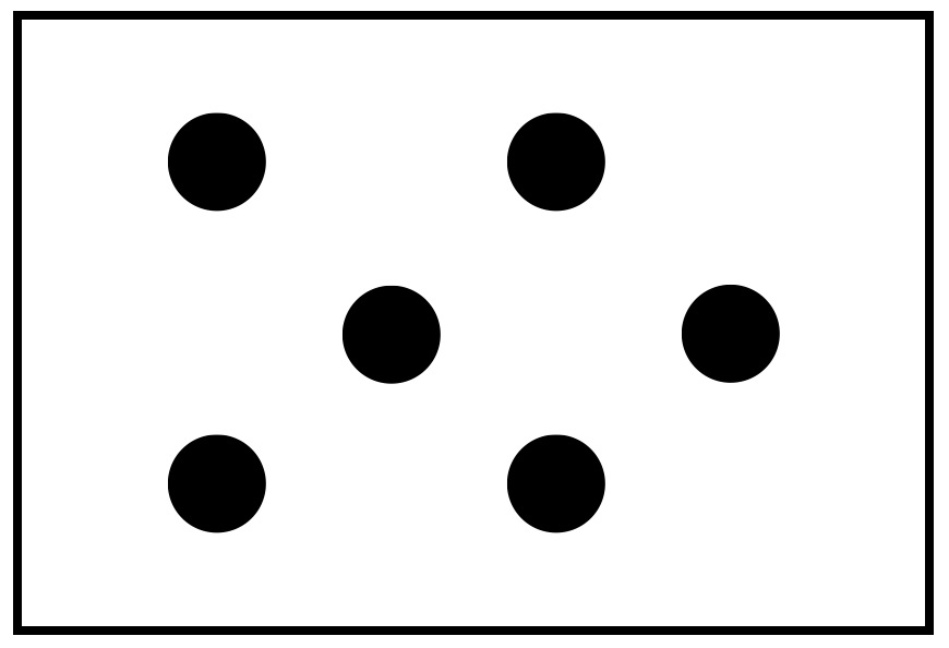 White card with 6 black dots to demonstrate subitizing: two on top, two in the center but offset to the right, two on the bottom directly below the top two dots