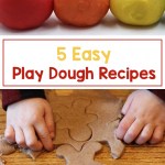 Photo of colorful balls of playdough and photo of child cutting out a gingerbread shape from brown playdough. Text says: 5 Easy Play Dough Recipes.