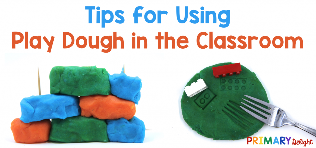 Photo of a building made from playdough and toothpicks, and play dough with impressions from a fork and Lego bricks. Text says: Tips for Using Play Dough in the Classroom.