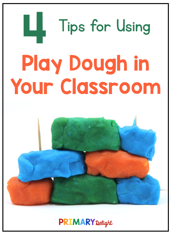 "Photo of a simple building made from play dough and toothpicks with text that says ""4 Tips for Using Play Dough in Your Classroom."""