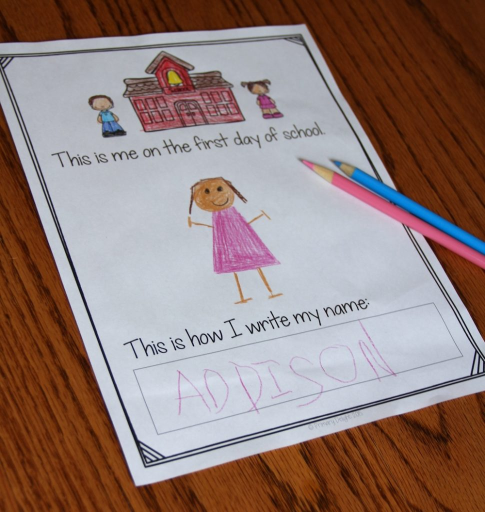 "Photo of a student's hand-drawn portrait on a page that says: ""This is me on the first day of school."" Below the page has room for the child to write his/her name."