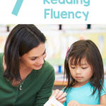 """Photo of teacher reading with student. Student is turning the page while the teacher appears to encourage her. Text says """"7 Ways to Support Reading Fluency"""""""