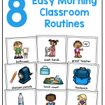 Text that says: Start your day with these 8 Easy Morning Classroom Routines. Image shows several classroom routine schedule cards.