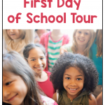 Image with photo of a group of children. Text says: Tips and Tricks for a First Day of School Tour