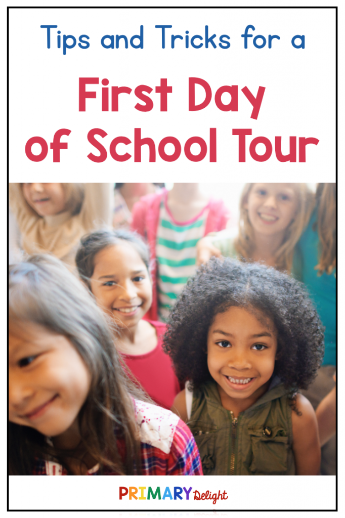 Image with a photo of a group of young children. Text says: Tips and Tricks for a First Day of School Tour.