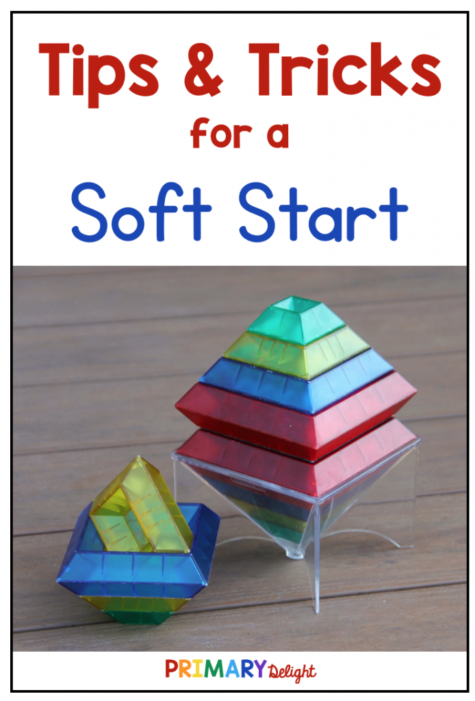 Text says Tips & Tricks for a Soft Start with photo of two stacks of building blocks.