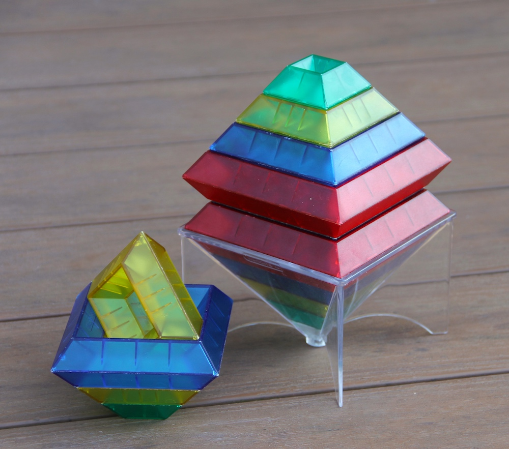 Photo of two stacks made from colorful Wedgit blocks.