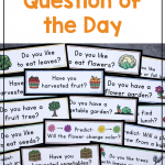 Text says: Getting Started with the Question of the Day. Photo shows several plant-themed questions for science spread on the table.