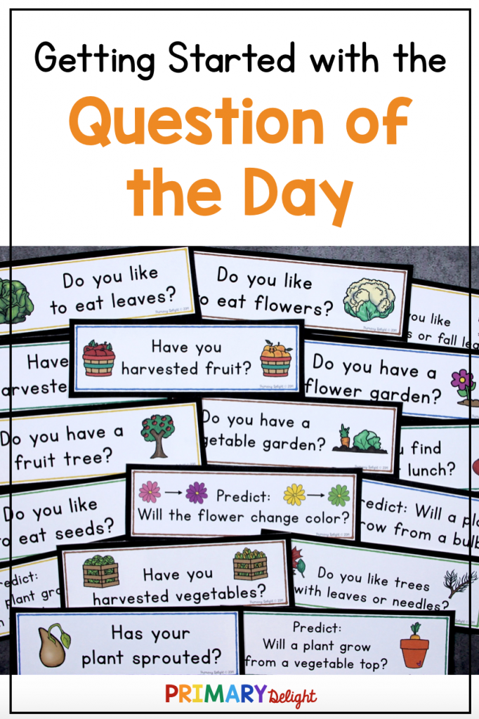Text says: Getting Started with the Question of the Day. Photo several plant-themed questions spread out on a table.