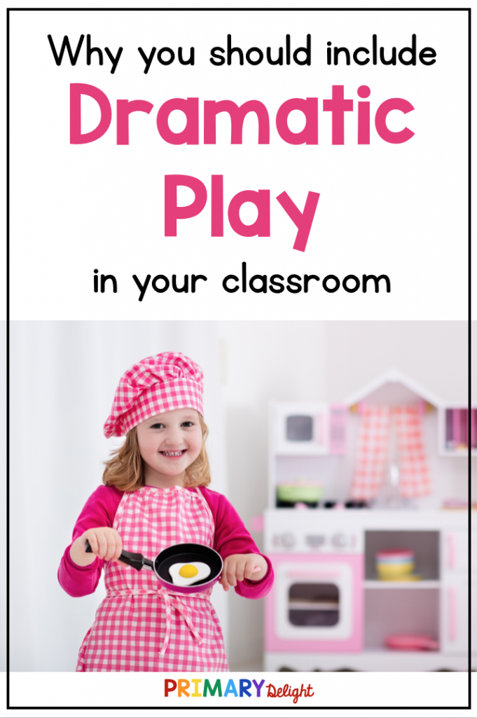 Text says: Why you should include dramatic play in your classroom. Photo of girl playing in a pretend kitchen.
