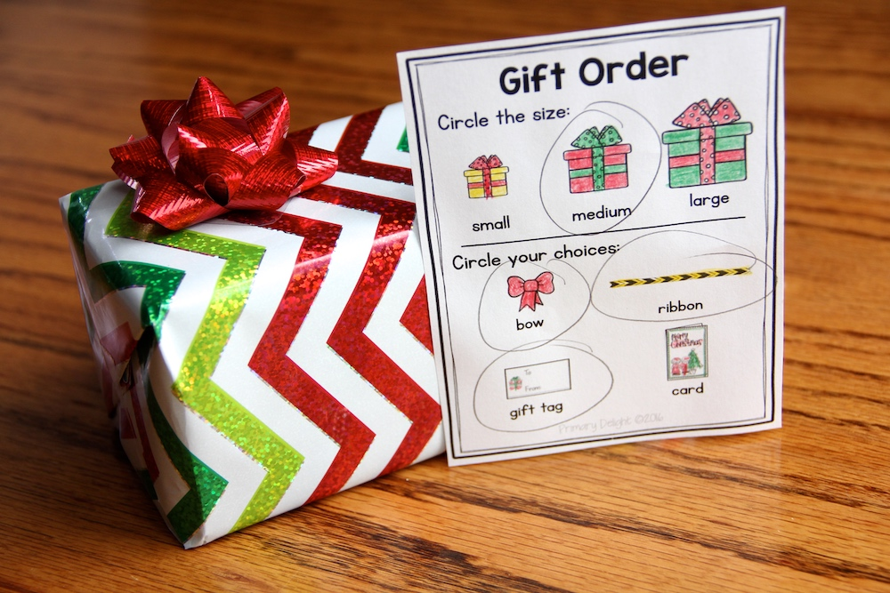 """Photo of a Christmas dramatic play center gift with a """"gift order"""" slip where shopper can request gift size and decorations."""