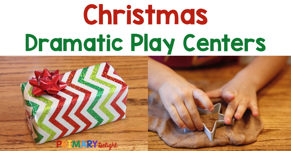 Photos of a wrapped Christmas gift and a child playing with gingerbread play dough. Text says: Christmas Dramatic Play Centers.
