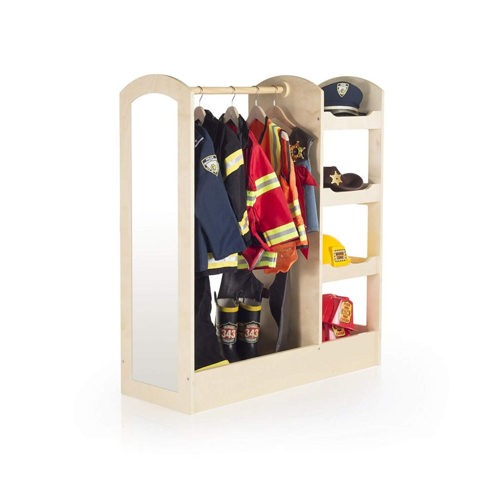 Photo of a dramatic play stations with  hangers for the dress up clothes and a mirror.