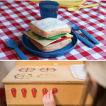 Pin title says: Getting Started with Dramatic Play. Photos show two scenes from a dramatic play area: a pretend sandwich on a plate and a young girl playing with a wooden stove.