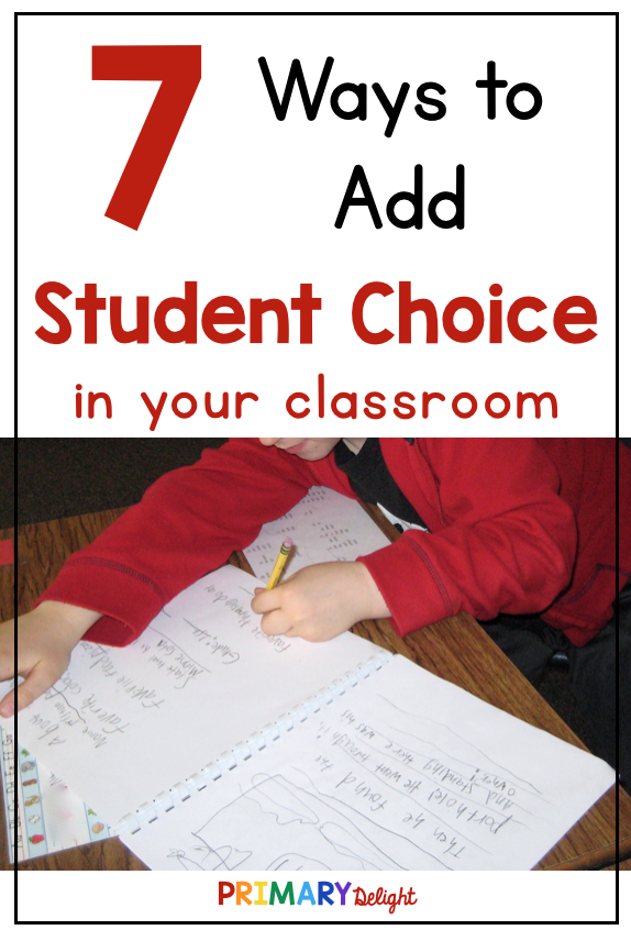 Text: 7 Ways to Add Student Choice in your classroom. Photo of a student who created his own style of writing paper.