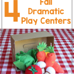 Text says: How to Set up 4 Fall Dramatic Play Centers. Photos shows pretend produce spilling out of a cardboard box in a pretend market.
