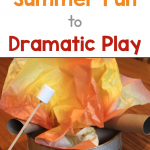 Text: How to Add Summer Fun to Dramatic Play. Photo of a pretend campfire made with tissue paper and paper towel roles.