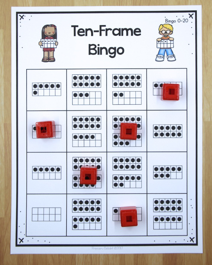 Photo of a printable Bingo game that uses ten-frames instead of numbers.