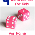 Text says: 9 Simple (but fun) Math Games for Kids for Home and School. Photo shows a pair of pink dice.