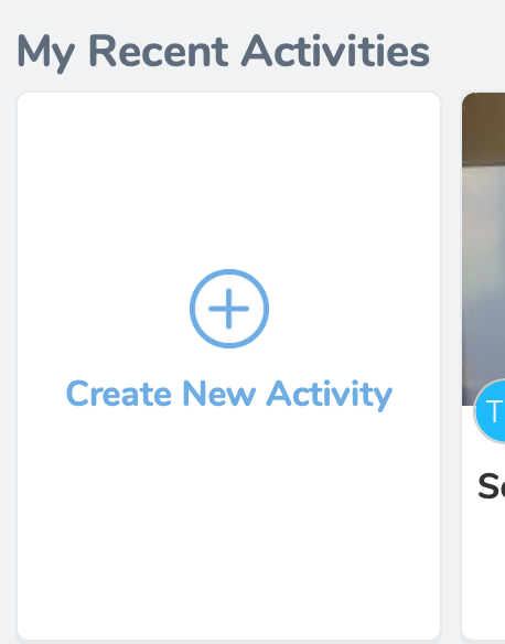 """Close up photo of the """"Create New Activity"""" button on Seesaw."""