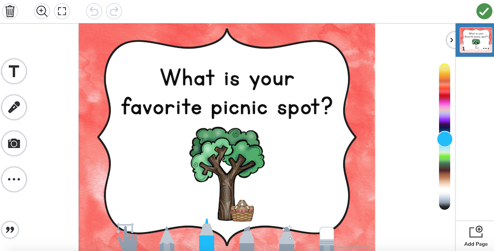 Photo of an uploaded question of the day on Seesaw.