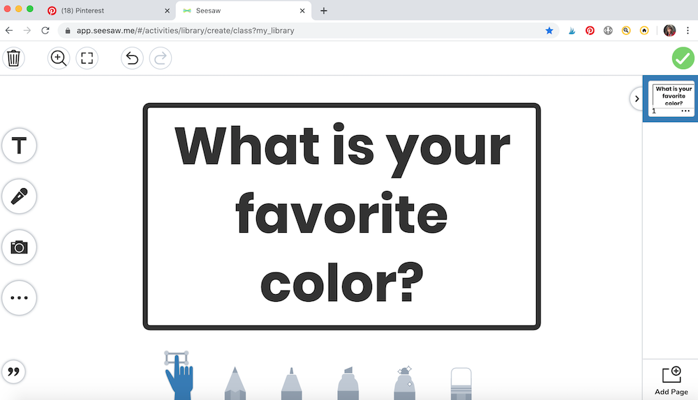 Example of a finished question of the day on Seesaw, created within the drawing section.