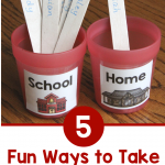 """Photo with two red cups labeled """"School"""" and """"Home."""" Each contains popsicles sticks to show student attendance. Text says """"5 Fun Ways to Take Attendance."""""""