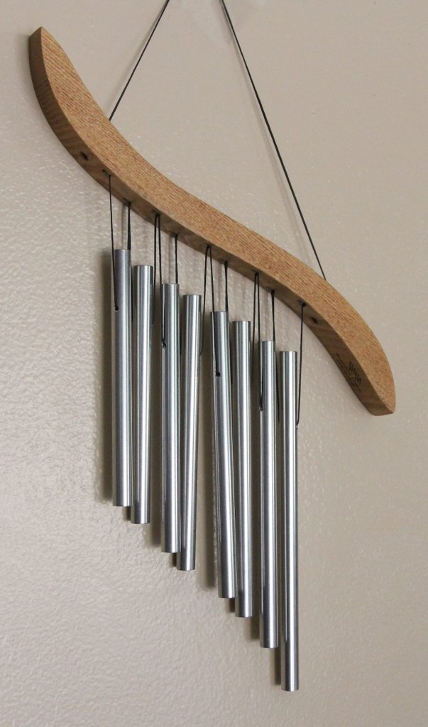Photo of hanging metal chimes used to get students' attention.