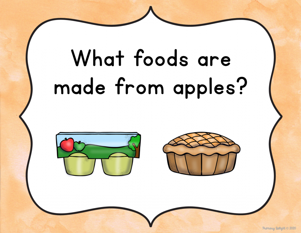 "Images of a question that says ""What foods are made from apples?"" Below the question are pictures of apple sauce and an apple pie."