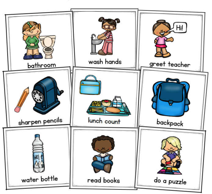 Image of 9 classroom routines that can be used when teaching procedures in the classroom: bathroom, wash hands, greet teacher, sharpen pencils, lunch count, backpack, water bottle, read books and do a puzzle.