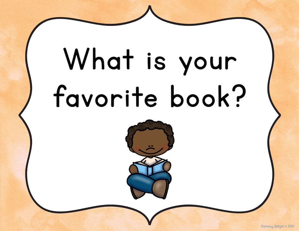 "Image of question to display with a  boy holding a book and a question that says ""What is your favorite book?"""