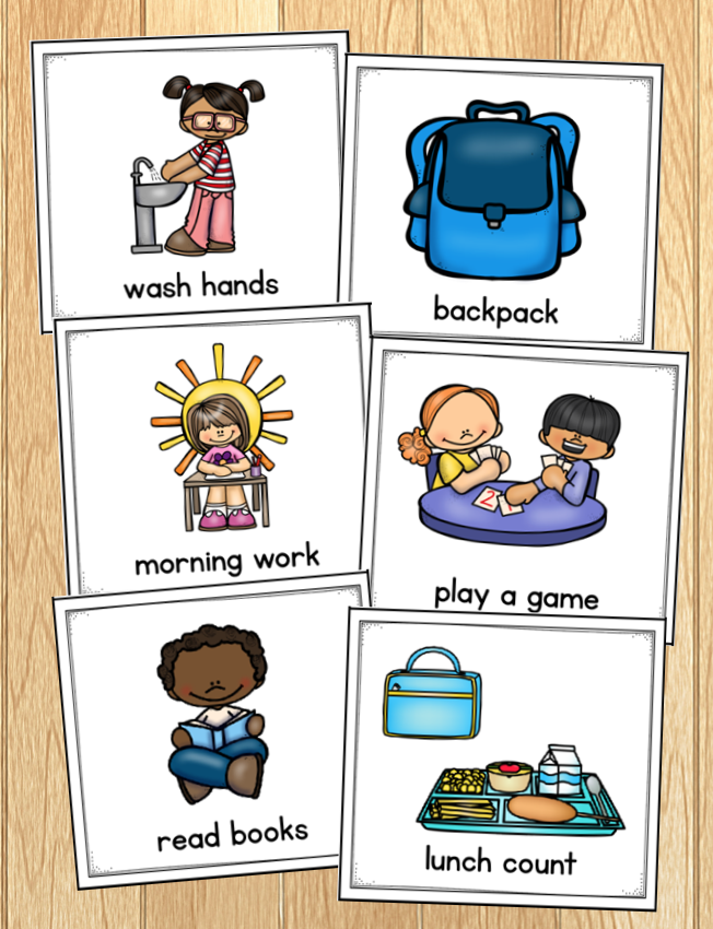 Photo of morning routine cards, each with clipart and words: wash hands, backpack, morning work, play a game, read books, and lunch count.
