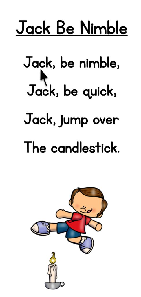"""Image of a chart showing the poem """"Jack Be Nimble."""""""