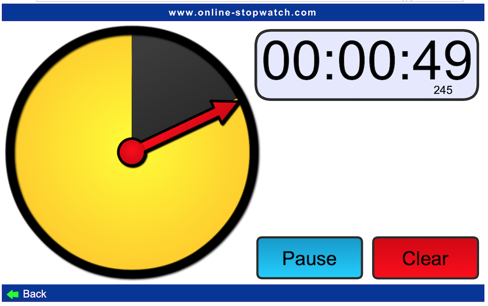 Image of a digital timer, available online. Timer is a yellow circle that turns black as time is counted down.