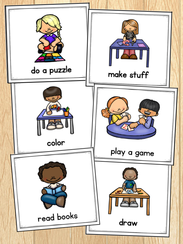 Photo of morning routine cards that offer the following choices: do a puzzle, make stuff, color, play a game, read books or draw.