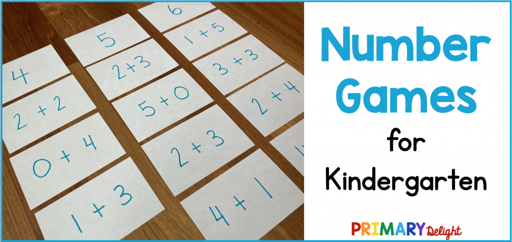"Photo of index cards with simple addition facts. Text says ""Number Games for Kindergarten."""