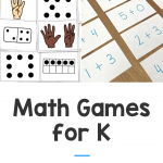 "Photos show a set of subitizing cards and an addition sort. Text says ""Math Games for K - for home or school"""