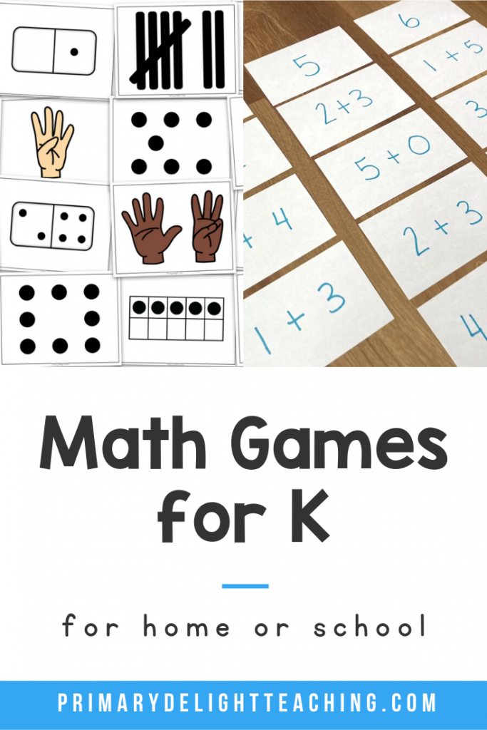 "Photos show subitizing cards and an addition sort with index cards. Text says ""Math Games for K - for home or school"""