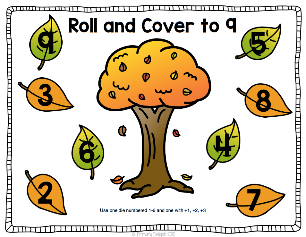 Image of a paper showing a colorful tree with leaves around it. Each leaf contains a number. This roll and cover game is a fun number game for kindergarten.