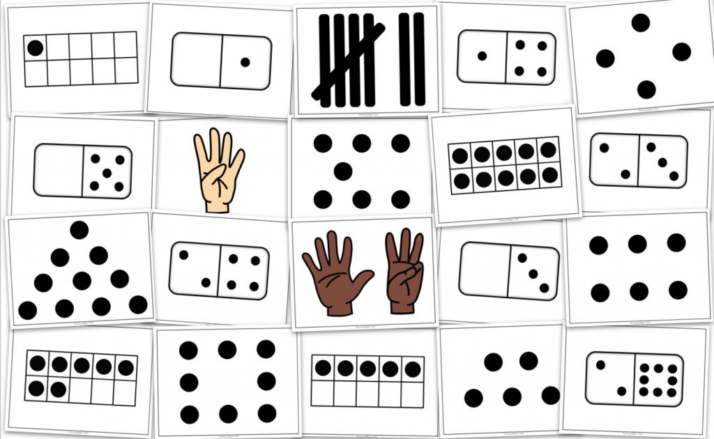 Photo of small playing cards showing numbers represented in different ways (ex: fingers, dominoes, dot patterns and ten frames.)