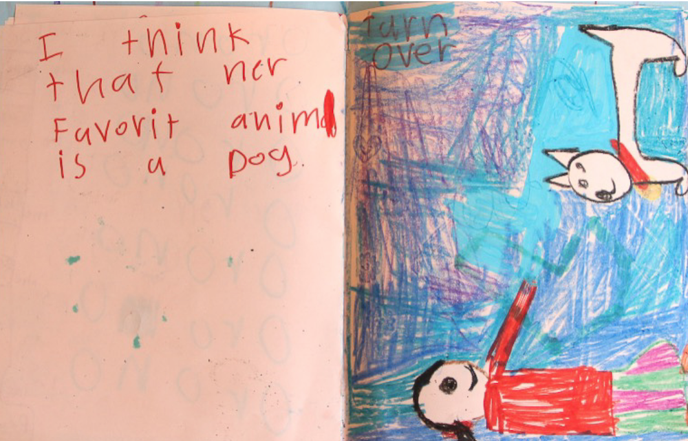 "Photo of a student's writing sample shown at conferences. Student writing says, ""I think that her favorite animal is a dog."""
