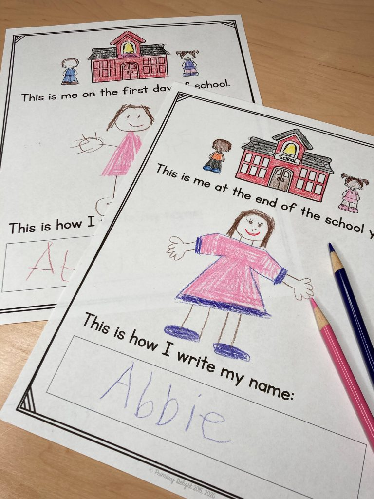Photos from first day of school and end of year to show growth in a student's writing and drawing skills.