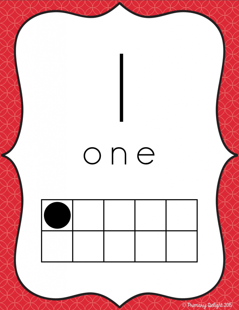 Image of a number poster with a  red border, the numeral 1, the number word 1 and a ten-frame showing one dot.