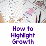 Photos show number writing samples and self-portraits from various times during the year. Text says: How to Highlight Growth at parent teacher conferences.