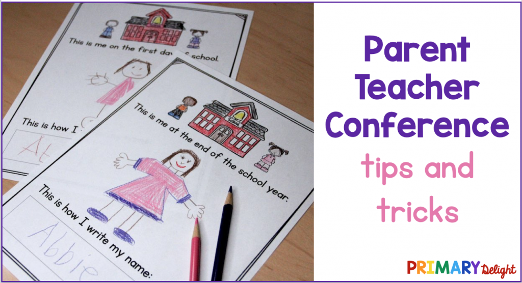 Photo of student self-portraits from two times in the year. Text says: Parent Teacher Conference Tips and Tricks.