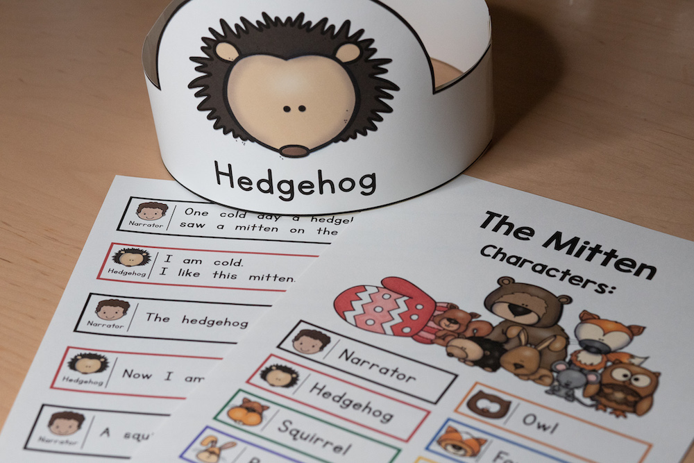 Photo of a script for The Mitten Readers Theater - shows script and a character headband for a hedgehog.