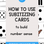 """Text says """"How to Use Subitizing Cards to Build Number Sense"""" layered on top of image of subitizing cards"""