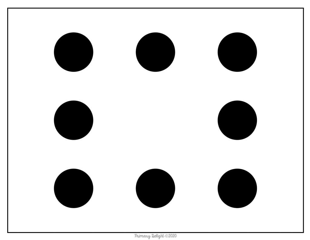 Image of a subitizing card with dot patterns showing a 3X3 grid of dots, with the center one missing.